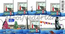 Scheveningen Lighthouse, Scheveningen North Mole Light (foreground of stamp) and Van der Valk Pier Light (lower right of sheet) | Scott ?, Mi ?, SG ?, WADP ? | 23 May 2016