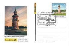German postal card showing Moritzburg Lightouse and postmark