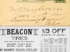 United States privately printed postal card advertising Beacon Tires
