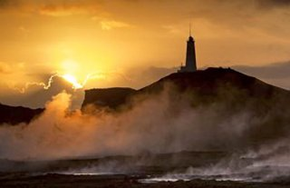 Iceland postal card showing Reykjanes lighthouse, 23 Jan 2015