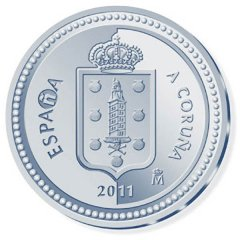 2011 Spanish coin showing the Tower of Hercules