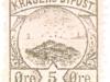 Kragero, Norway local post 5 ore 1886