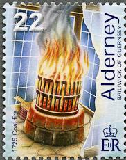 Casquests Lighthouse - coal fire, Scott 191, 30 Jul 2002