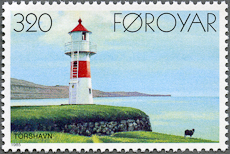 Torshavn Lighthouse, Scott 131, 23 Sep 1985